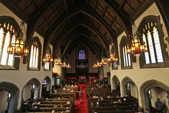 The third service on Sundays at Broadway United Methodist Church are in the beautiful sanctuary, Sunday, March 15, 2015.