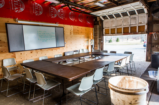 Classroom set up inside an old garage