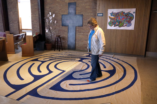 Woman walking a labyrinth