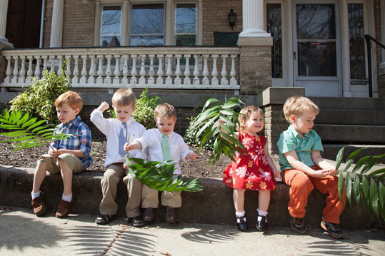 Kids holding palms for Palm Sunday