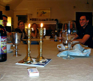 Young adults at Shabbat dinner